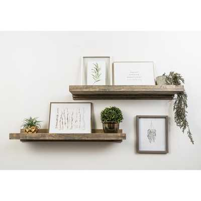 Rustic Luxe 36 in. W x 10 in. D Floating Gray Decorative Shelves (Set of 2) - Home Depot