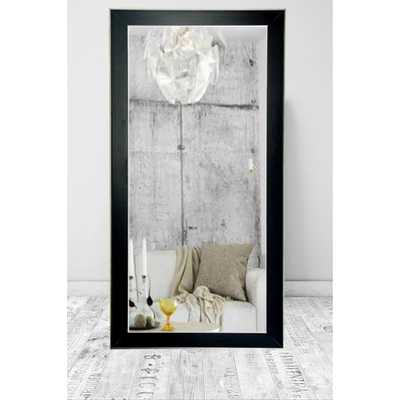Brandtworks Modern Black with Silver Accent Tall Framed Mirror - Home Depot