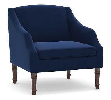 SoMa Emma Upholstered Armchair, Polyester Wrapped Cushions, Performance Everydayvelvet(TM) Navy - Pottery Barn