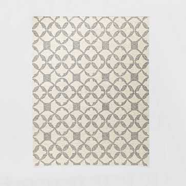 Tile Wool Kilim Rug, 9'x12', Platinum - West Elm