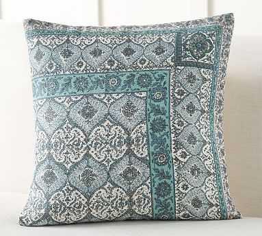 """Vesper Block Print Inspired Pillow Cover, 22"""", Blue Multi - Pottery Barn"""