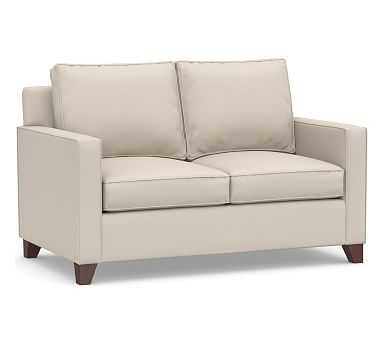 "Cameron Square Arm Upholstered Loveseat 60"", Polyester Wrapped Cushions, Performance Brushed Basketweave Oatmeal - Pottery Barn"