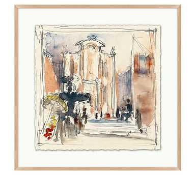 "Piazza Sketch Framed Print 1, 25 x 25"" - Pottery Barn"