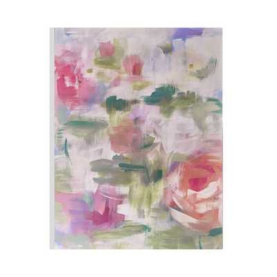 """24 in. x 32 in. """"Abstract Blossoms"""" Printed Wall Art, Pink/Green - Home Depot"""