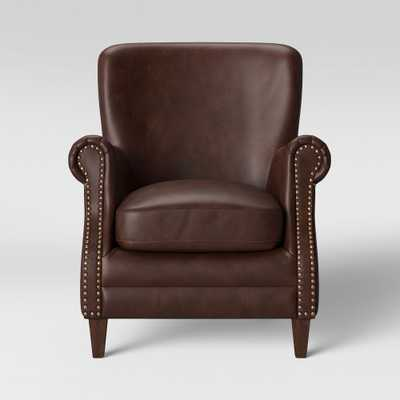 Deerfield Rolled Arm Club Chair Faux Leather Brown - Threshold - Target