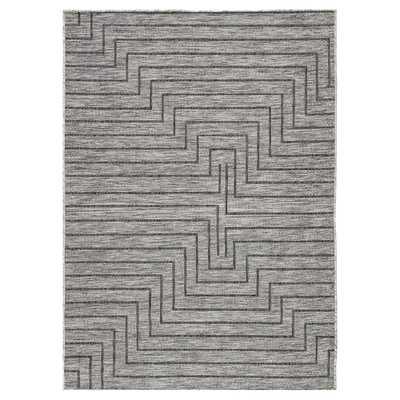 Maiken Modern Classic Grey Linear Pattern Outdoor Rug - 10x14 - Kathy Kuo Home