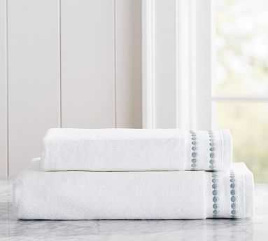 Pearl Embroidered Organic Hand Towel, Porcelain Blue - Pottery Barn