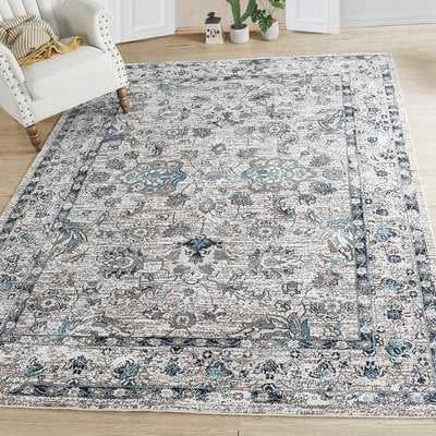 Bluebell Abstract Distressed Gray/Blue Area Rug - Wayfair