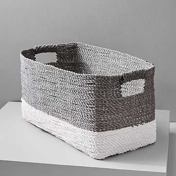 Two-Tone Woven Basket, Gray/White, Console - West Elm