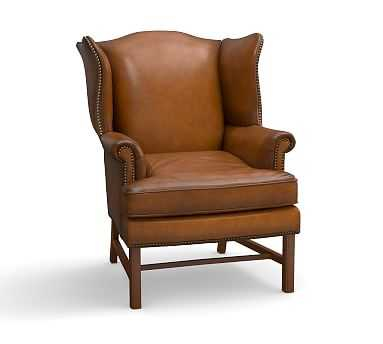 Thatcher Leather Armchair, Polyester Wrapped Cushions, Leather Burnished Bourbon - Pottery Barn