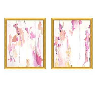 "Pink Drips Framed Print, 20 x 25"", Set of 2 - Pottery Barn"