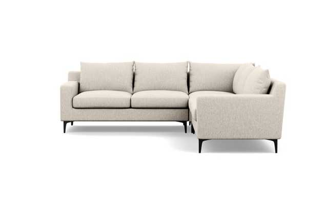 Sloan Corner Sectional with Wheat Fabric and Matte Black legs - Interior Define