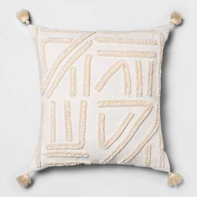 Chenille Embroidered Square Decorative Throw Pillow Cream (Ivory) - Opalhouse - Target