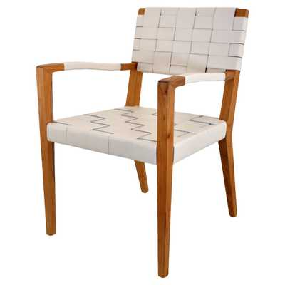 Oly Studio Ellio Modern Classic White Woven Leather Wood Dining Chair - Kathy Kuo Home