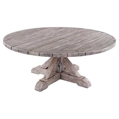 Kingsley Bate Provence French Country Grey Teak Outdoor Round Coffee Table - Kathy Kuo Home
