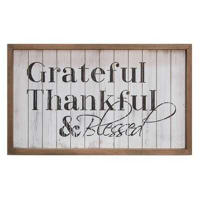 'Grateful & Blessed' Framed Textual Art on Wood - Wayfair