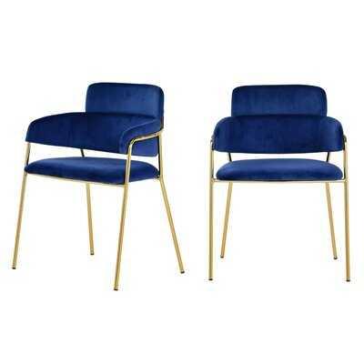 Wendell Modern Blue Velvet & Gold Dining Chair (Set of 2) - Wayfair
