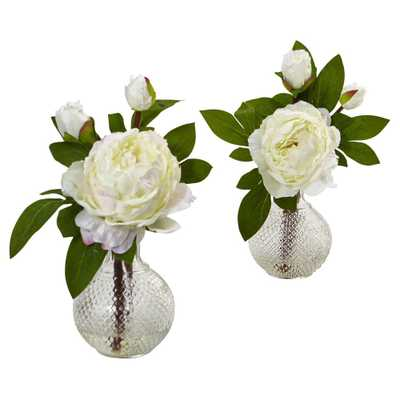 Peony with Vase 2ct (11) - Nearly Natural, White - Target