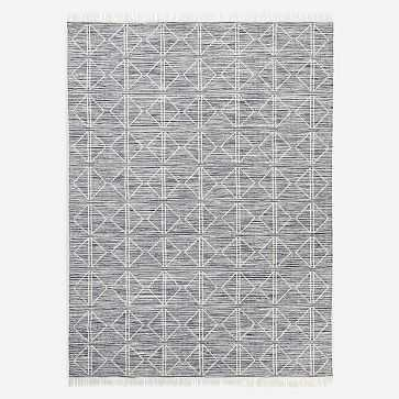 Reflected Diamonds Indoor/Outdoor Rug, Iron, 8'x10' - West Elm