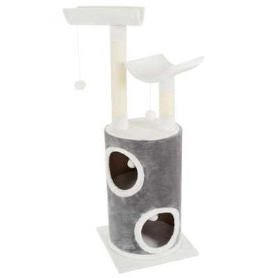 Gray and White 5 Tier Double Decker Cat Condo Tree with 2 Scratching Posts - Home Depot