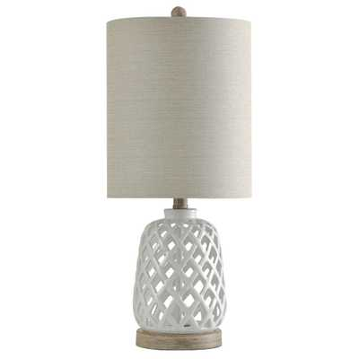StyleCraft 23.3 in. White Table Lamp with White Hardback Fabric Shade - Home Depot