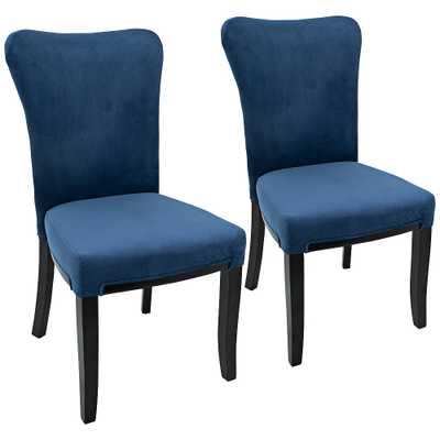 Olivia Navy Blue Velvet Dining Chair Set of 2 - Style # 32Y98 - Lamps Plus