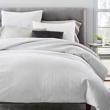 Cotton Ribbon Stripe Duvet Cover, King/ Cal. King, White - West Elm