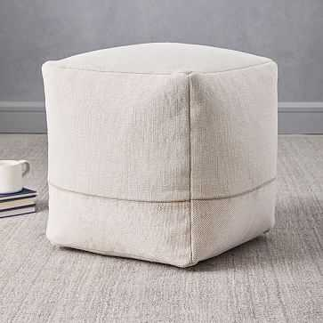 "Cotton Canvas Pouf, 16""x16""x17"", Stone - West Elm"