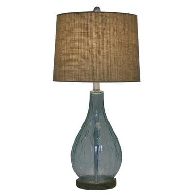 Decor Therapy Emma Embossed 27.5 in. Blue Table Lamp with Burlap Shade - Home Depot