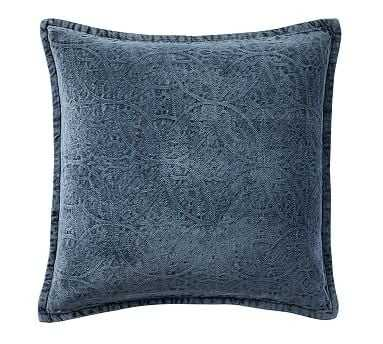 "Chenille Jacquard Pillow Cover, 20"", Sailor Blue - Pottery Barn"