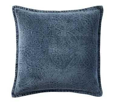 "Chenille Jacquard Pillow Cover, 20"", Sailor Blue - Pottery Barn"