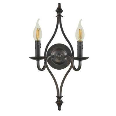 Springdale Lighting Ebert 2-Light Antique Bronze Wall Sconce - Home Depot