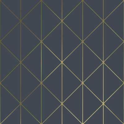 Engblad & Co 8 in. x 10 in. Diamonds Navy (Blue) Geometric Wallpaper Sample - Home Depot