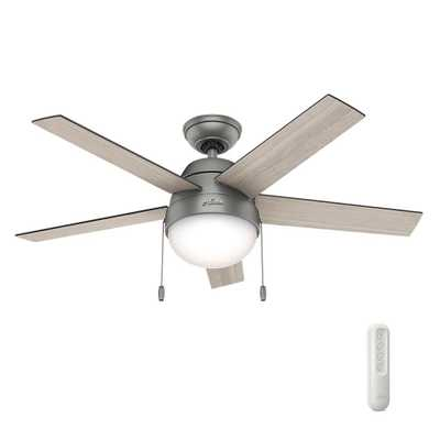 Hunter Anslee 46 in. Indoor Matte Silver Ceiling Fan with Light bundled with Universal Remote Control - Home Depot