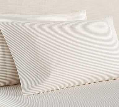 Wheaton Stripe Organic Sheet Set, Queen, Khaki - Pottery Barn