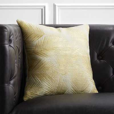 """16"""" Gold and White Palm Leaf Pillow with Feather-Down Insert"" - CB2"