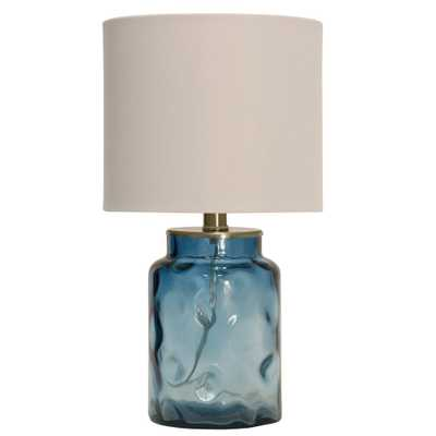 StyleCraft 25.5 in. Blue Table Lamp with White Hardback Fabric Shade - Home Depot