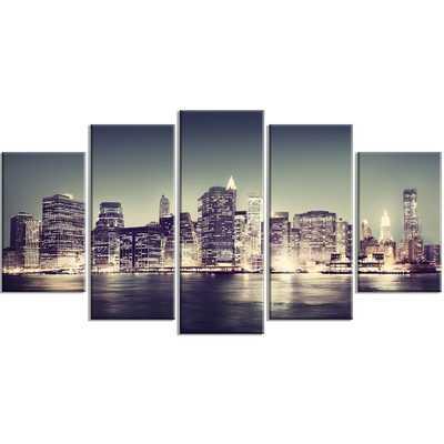 'Black and White New York City Night Panorama' 5 Piece Photographic Print on Wrapped Canvas Set - Wayfair