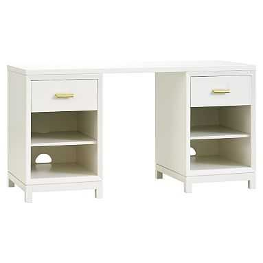 Rowan Cubby Storage Desk, Lacquer Simply White - Pottery Barn Teen