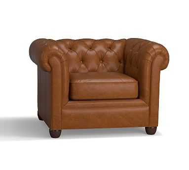 """Chesterfield Leather Small Armchair 44"""", Polyester Wrapped Cushions, Leather Vintage Caramel - Pottery Barn"""