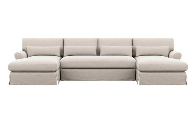 Maxwell U-Sectional with Linen Fabric and Oiled Walnut with Brass Cap legs - Interior Define