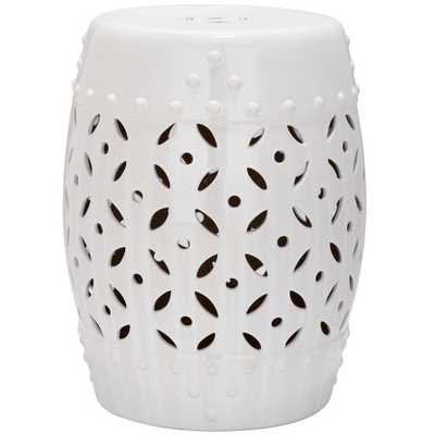 Safavieh Lattice Coin White Ceramic Patio Stool - Home Depot