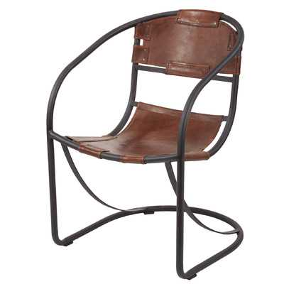 Arona Round Back Leather Lounge Chair - Wayfair