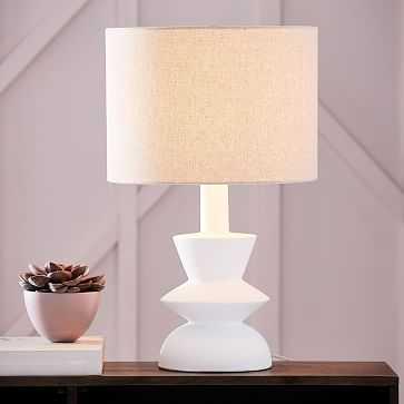 Totem Table Lamp- Base, Shade Medium-White/Antique Brass Natural Linen - West Elm