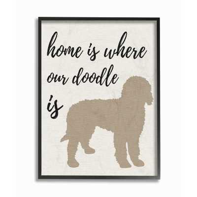 """Stupell Industries 11 in. x 14 in. """"Home is Where Our Golden Doodle Is"""" by Daphne Polselli Wood Framed Wall Art, Multi-Colored - Home Depot"""