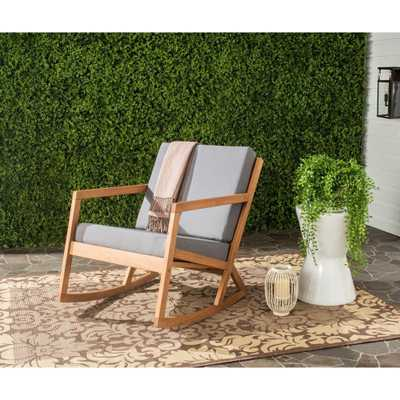 Safavieh Vernon Teak Brown Outdoor Patio Rocking Chair with Tan Cushion - Home Depot