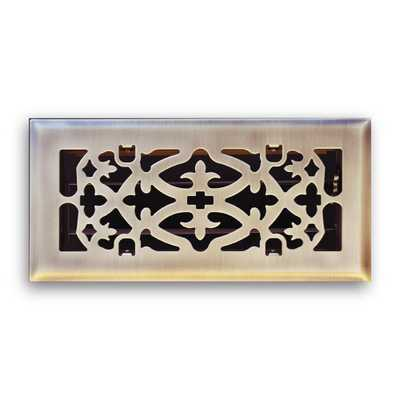 4 in. x 10 in. Ornamental Scroll Floor Diffuser in Antique Brass - Home Depot