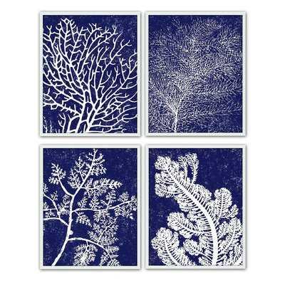 'Coral Silkscreen' 4 Piece Picture Frame Graphic Art Set - Wayfair