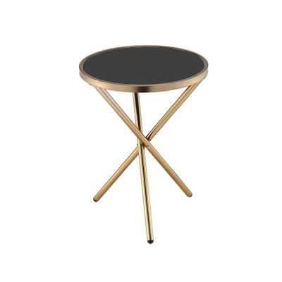 Lajita Black Glass and Champagne Side Table, Black Glass & Champagne - Home Depot