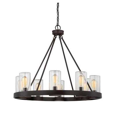 8-Light English Bronze Outdoor Hanging Chandelier - Home Depot